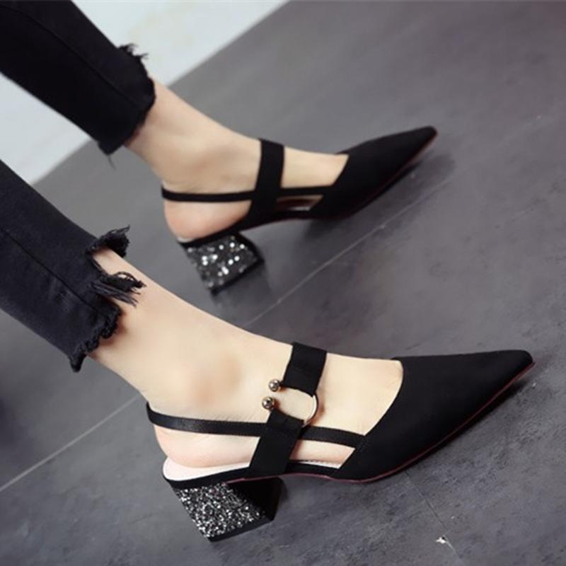 b2ad365de1a Women Sandals High Heels Slingback Sandals Block Heels Pumps Pointed Toe Fashion  Korea Sandals Buckle Bling Heels Sequin Shoes Nude Shoes High Heel Shoes ...