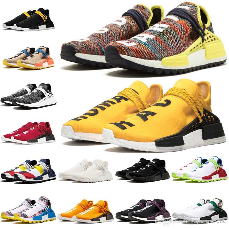 size 40 3b7f1 ce927 adidas nmd human race chanel Pharrell Williams x BBC Humano Trail Hu Womens  Sapatos de Tênis de Pacote Solar dos homens Formadores Meninos Tatuagem de  ...