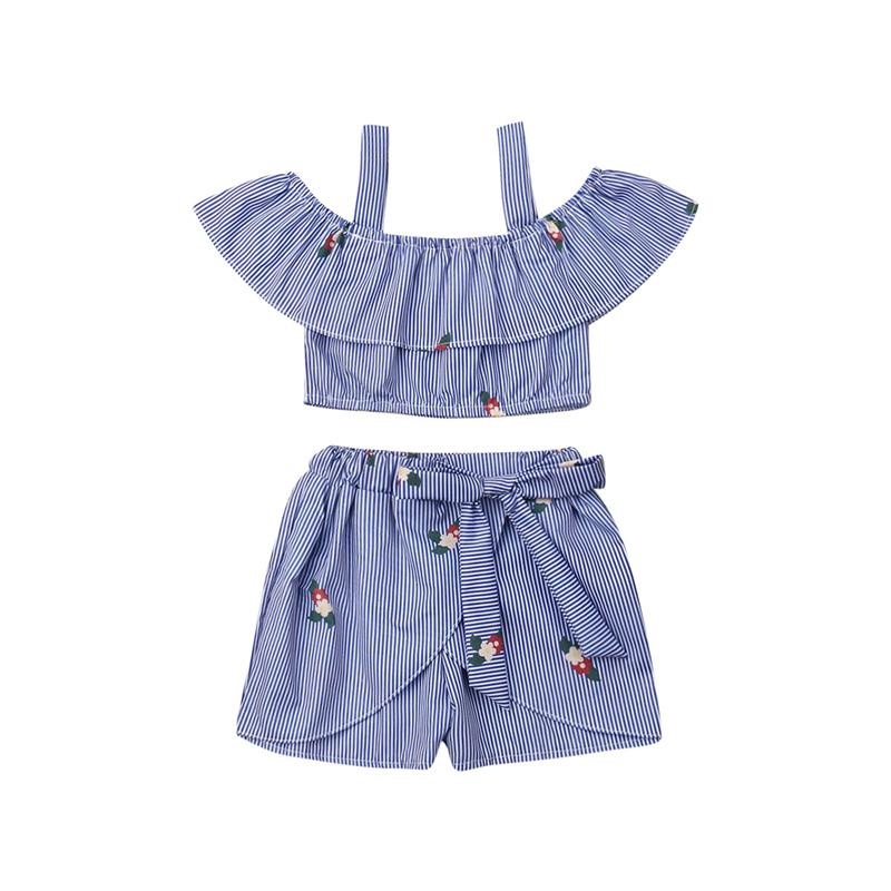 Summer Kids Baby Girl Clothes Ruffle Tops T-Shirt Flower Pants Outfits With Bow
