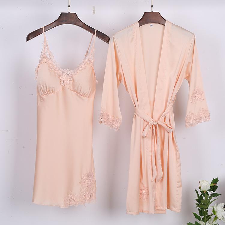 917d743ba0a51 2019 2018 NEW Womens Sleep Top Pants Suit Sexy Night Robe Sleepwear Sets  Casual Summer Pajamas Sleep Nightwear Kimono Bath Gown From Beasy112, ...
