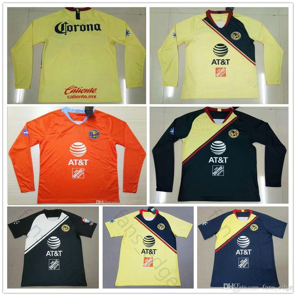 43a61f958e5 Camisetas De Fútbol De Manga Larga 2019 LIGA MX Club América C.DOMINGUEZ  R.JIMENEZ R.SAMBUEZA P.AGUILAR Camiseta De Fútbol Amarilla Azul Naranja ...