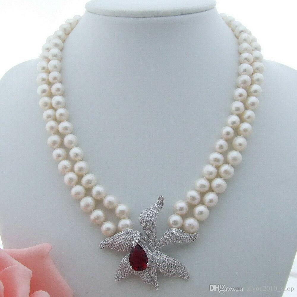Handmade 2 strands 8-9mm white freshwater cultured pearl micro inlay zircon accessories mercury buckle flower sweater necklace long 46-48cm