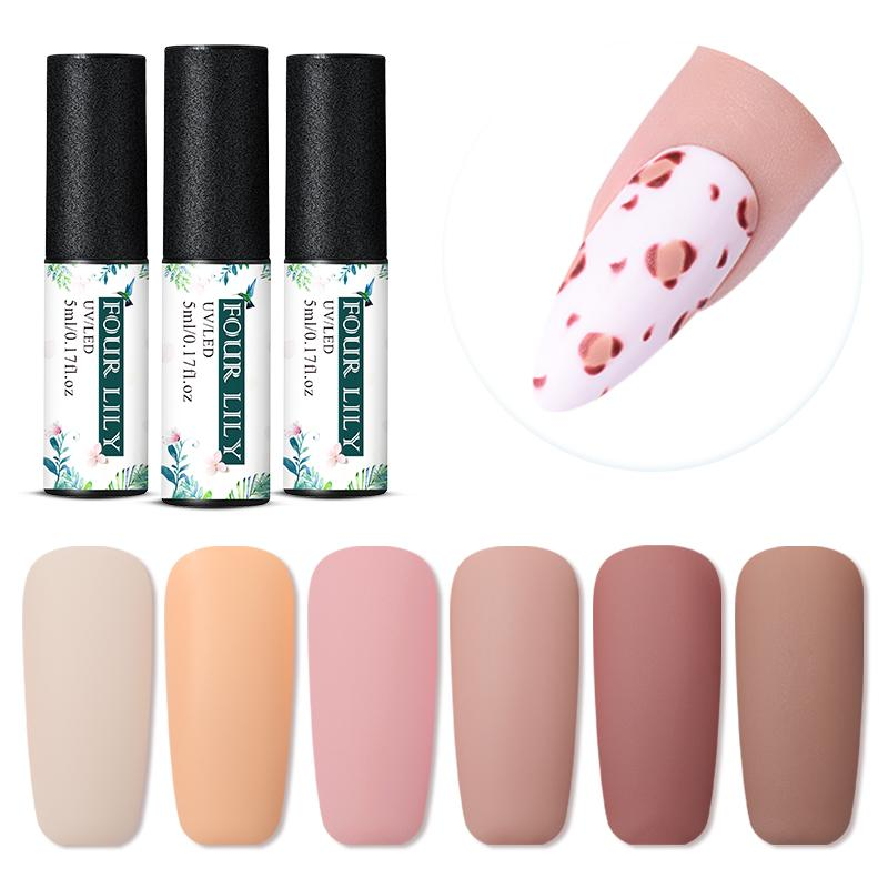 Four Lily Matte Top Coat Gel Nail Polish Nude Pink Serie Semi Permanent Nail UV Gel Polish Soak Off 60 Colors DIY Lacquer