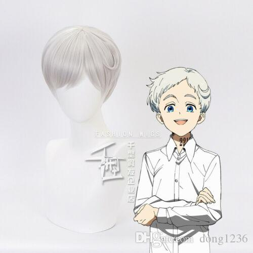 Anime The Promised Neverland Norman Cosplay Wig Silver White Short Hair Cap