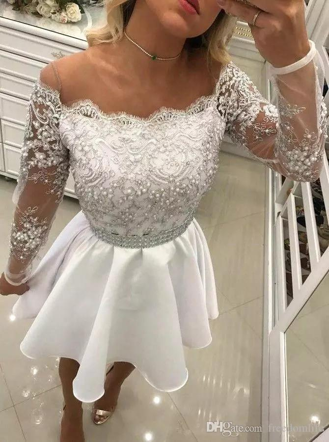 9faae2a8a Luxury Pearls White Short Prom Dresses 2019 New Beaded Vintage Style Lace  Formal Cocktail Party Dresses Long Sleeve Homecoming Dress Ball Gowns Long  Dresses ...