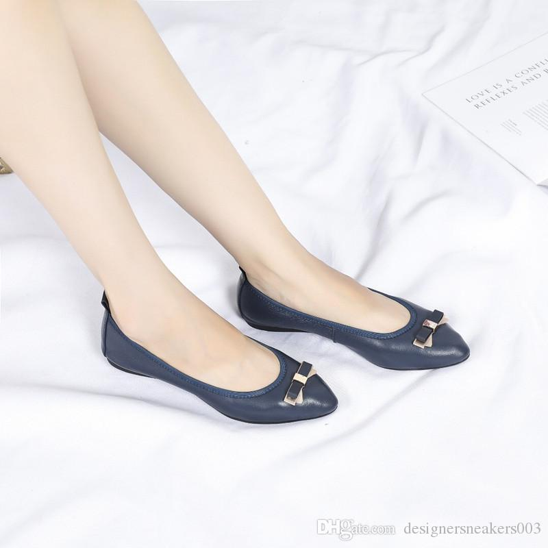 fecbbd13c260 2019 Hot Sales Fashion Women Rivet Shoes Flats Leather Ankle Strap Pointed  Toe Studded Valentine Shoes Ballerinas Wl18081202 Cheap Heels Comfort Shoes  From ...