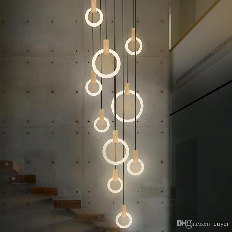 Modern LED stair chandelier lighting Nordic living room ceiling pendant  lamps bedroom Acrylic rings fixtures Wood hanging lights
