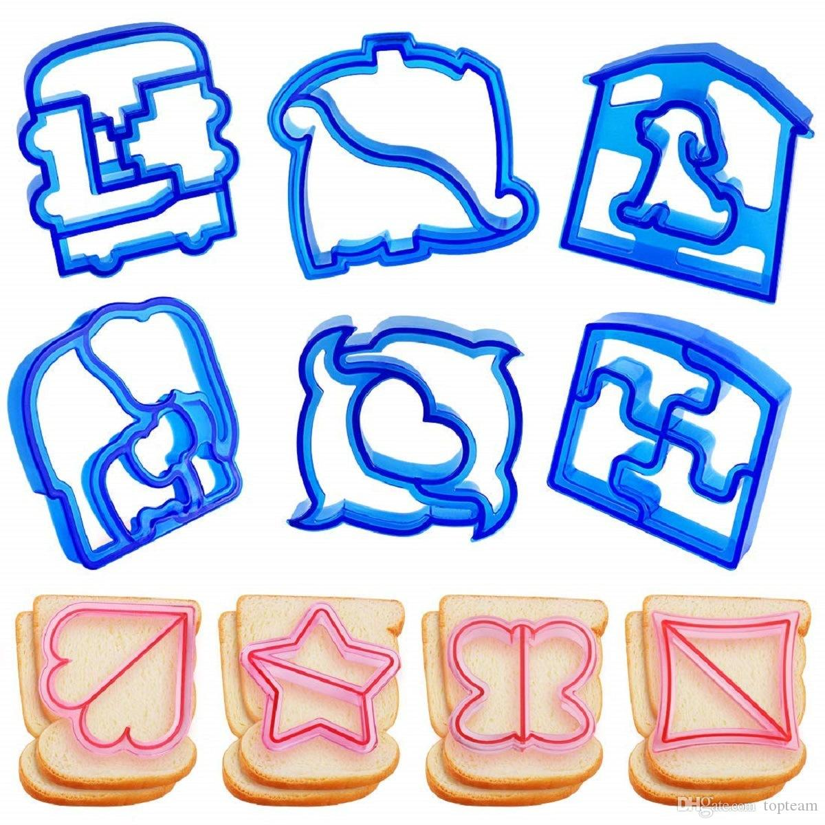 Kids DIY sandwich mould cutter lanch sandwich toast mould maker bear car dog teris shape cake bread biscuit mold food cutter 100PCS