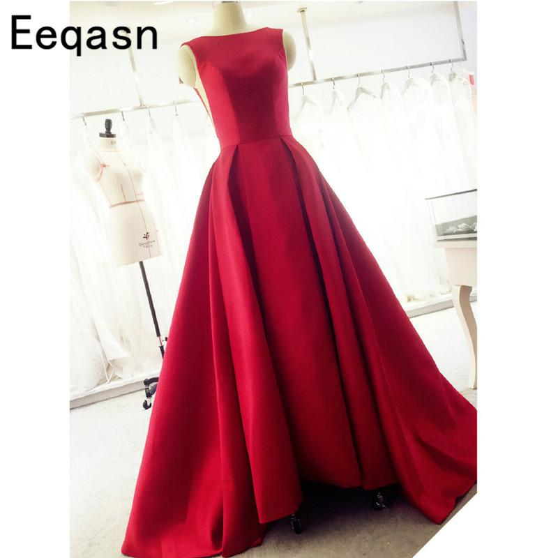 Arabic Red Satin Open Back A Line Prom Dresses 2018 Long Sweep Train Dress Evening Party Elegant Vestido De Festa Fast Shipping