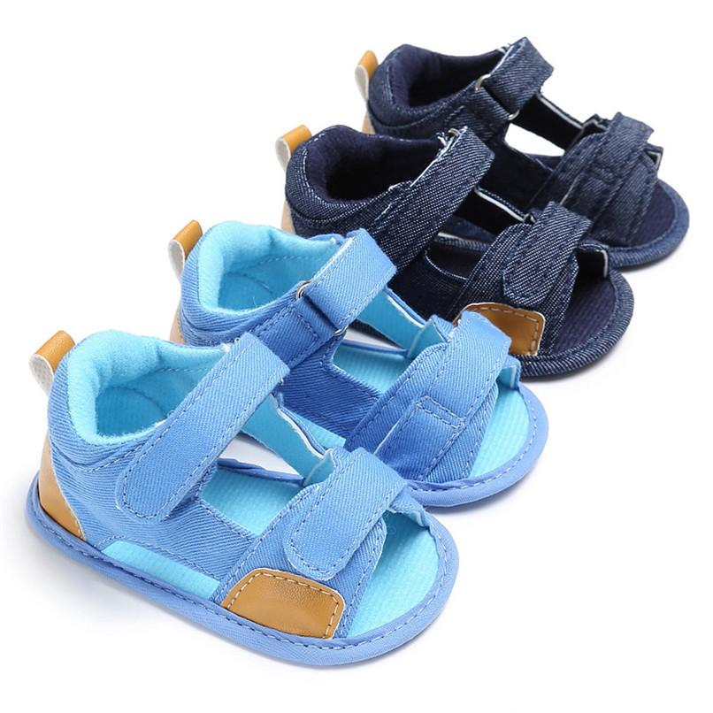 Summer Baby Shoes For Boys Girls Toddler Infant Kids Baby Boys Girls Solid Canvas Sole Crib Shoes Anti-slip Sandals Shoes M8Y11