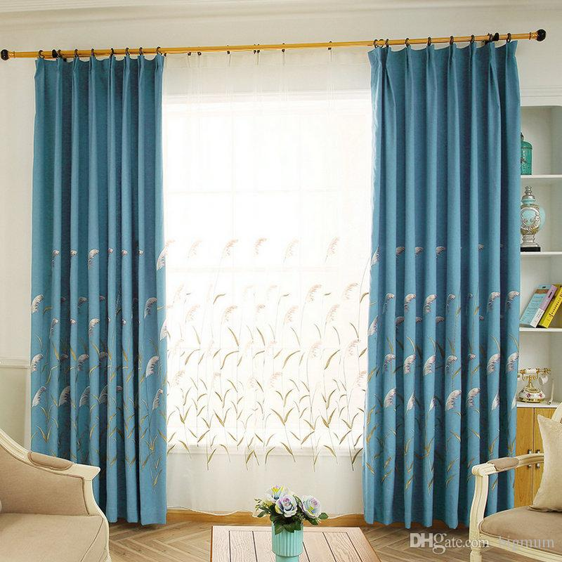 Pastoral Faux Linen Blackout Curtain Reeds Design for Living Room Kitchen Bedroom Home Embroidered Drapes Tulle Blinds Cortina