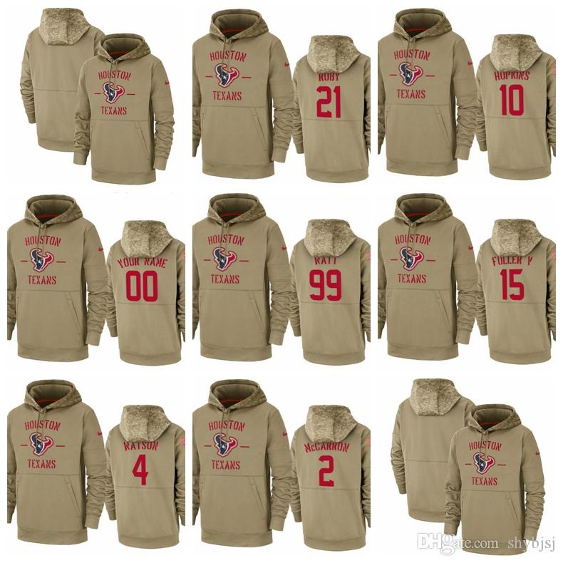 Men Women Youth Hot Style Texan #10 #21 #99 #15 #2 #4 Customize Any Number & Name 2019 Salute to Service Therma Pullover Hoodie