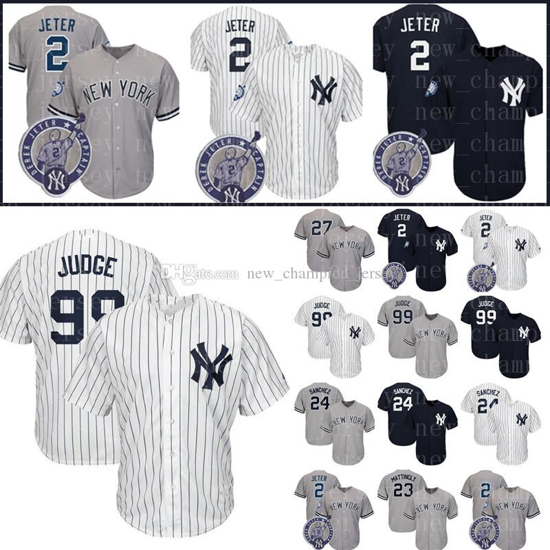 2019 Men S New York Yankees Jersey 2 Derek Jeter 99 Aaron Judge Baseball  Jersey 27 Giancarlo Stanton 24 23 Don Mattingly Jerseys From  New champion jersey 932219fc5a6
