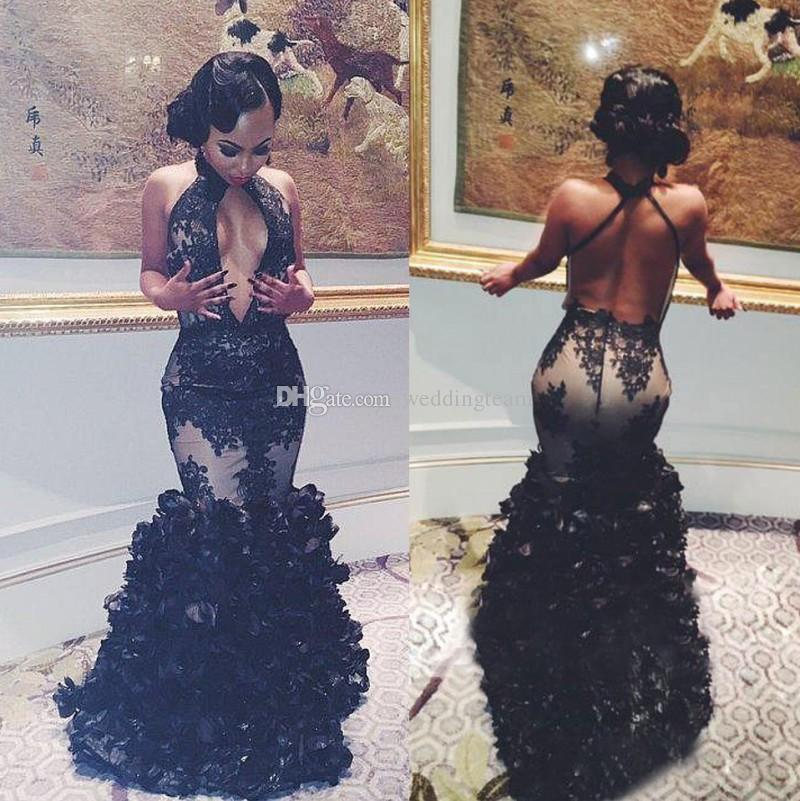 9190d13010372 Stylish Black Girl Mermaid Lace Prom Dresses Halter Deep V Neck Backless  Evening Gowns Sweep Train Ruffled Formal Dress Prom Dresses With Straps Prom  Shop ...
