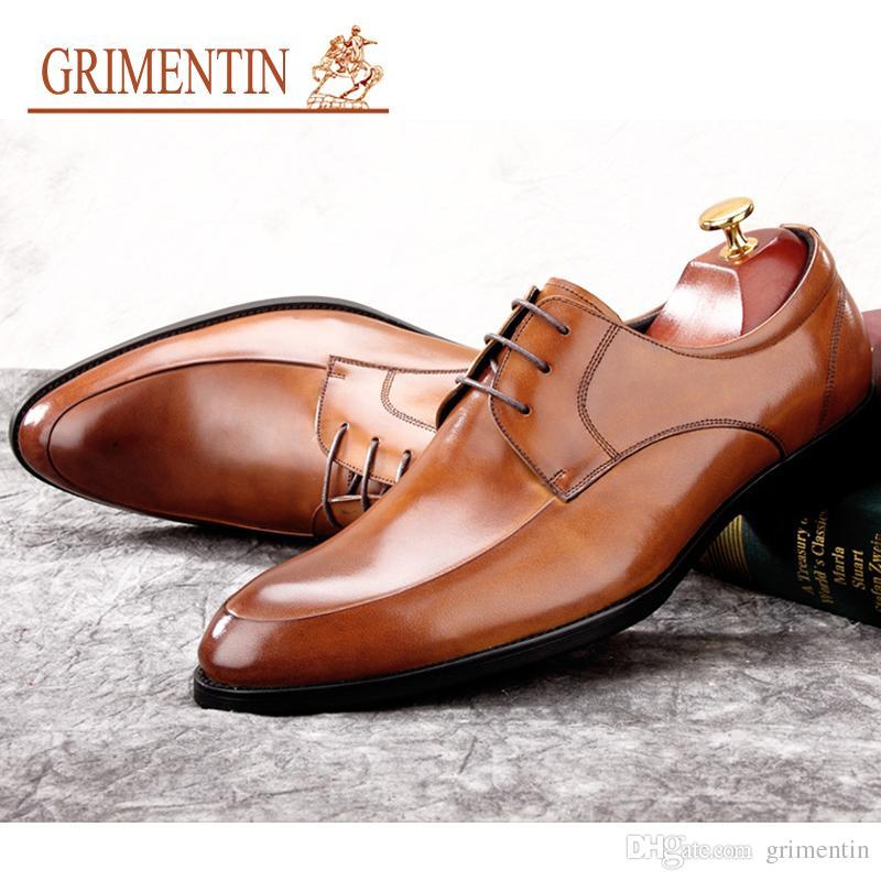 f0c4c7abd GRIMENTIN Hot Sale Brand Men Dress Shoes Genuine Leather Mens Oxford Shoes  Italian Fashion Designer Formal Business Male Shoes Size 6 11 CW Brown Shoes  ...