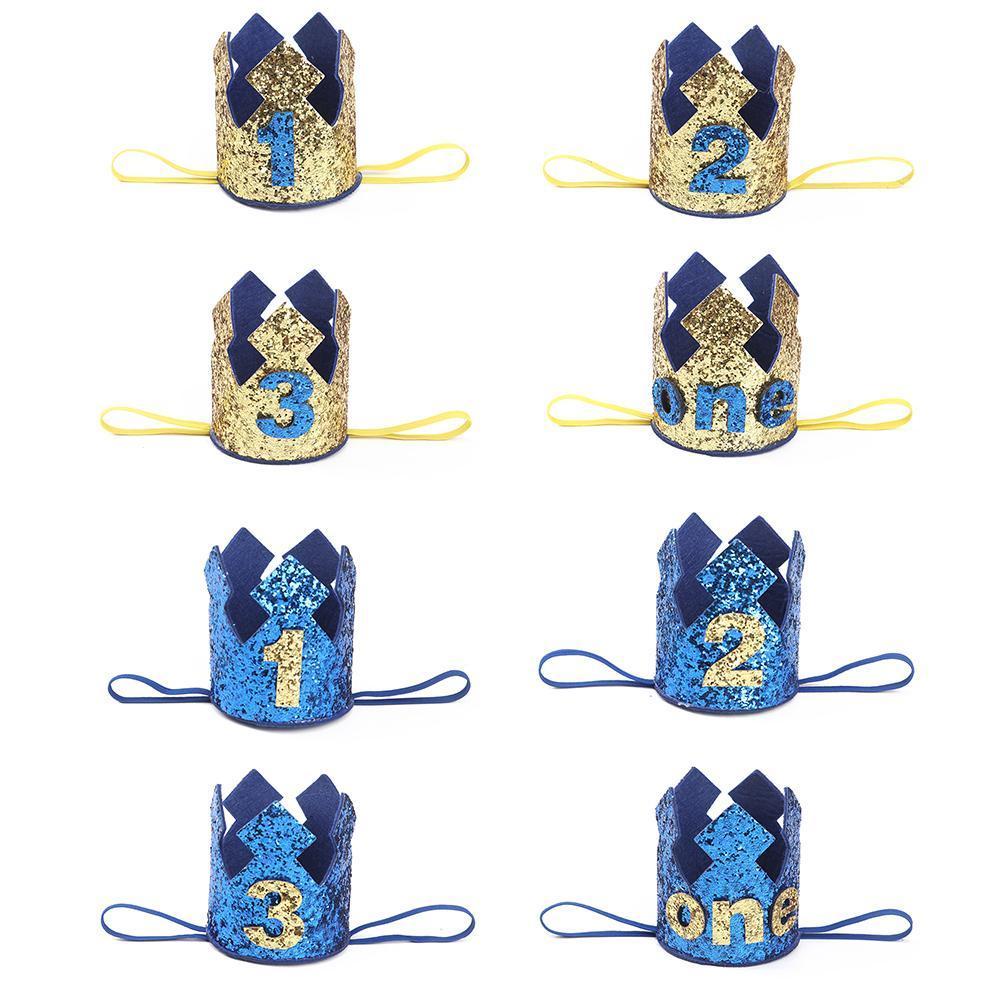 Compre Azul Oro Niño Primer Cumpleaños Sombrero Glitter Princesa Corona  Número 1er 2 3 Años Fiesta De Baby Shower Decor Diadema Niños Regalos A   34.05 Del ... bfc7b24519b