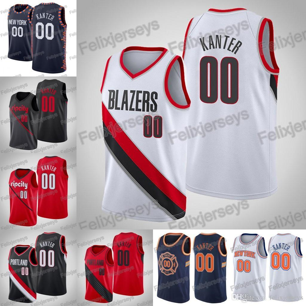 purchase cheap f482a fa89b Hot 00 Enes Kanter New York Portland Trail Men Knicks Basketball Jersey  Free Shipping