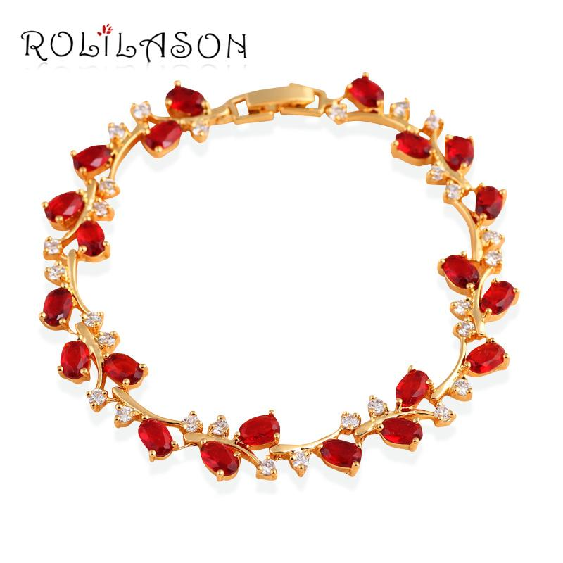 bracelet fashion So Beautiful Royal Garnet Design Gold Tone Red Zirconia Bracelets Health Nickel & Lead Free Fashion Jewelry TB1010