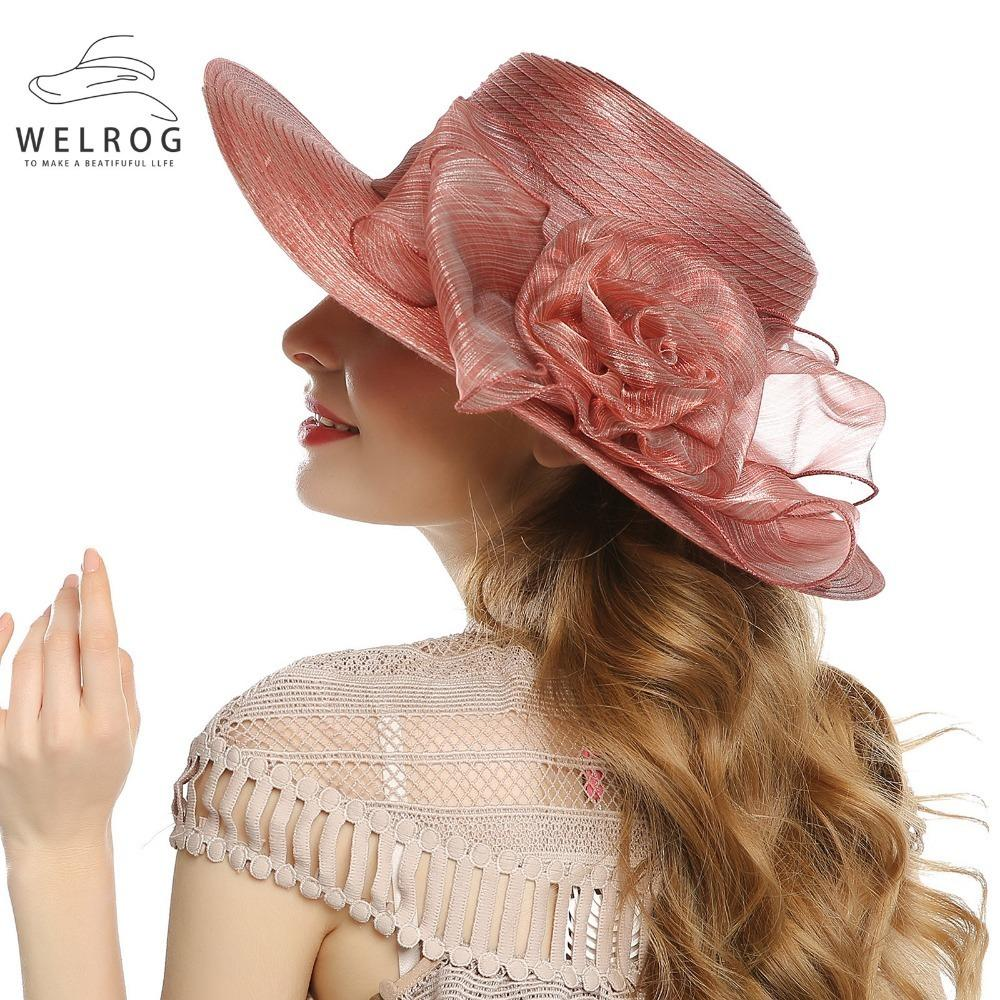 a2b87bd71a7 WELROG Summer Women Elegant Vintage Organza Hats Large Wide Brim Bonnet  Party Wedding Kentucky Derby Hat Red Wine Church Cap D19011102 Sun Hat  Straw Hats ...