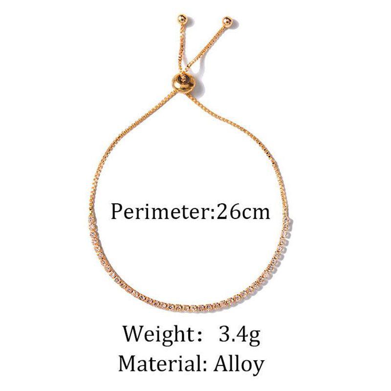 Estilo simple de las mujeres pulseras ajustables populares encantadores brazaletes de cadena del Rhinestone para el banquete de boda femenino joyería del Zircon