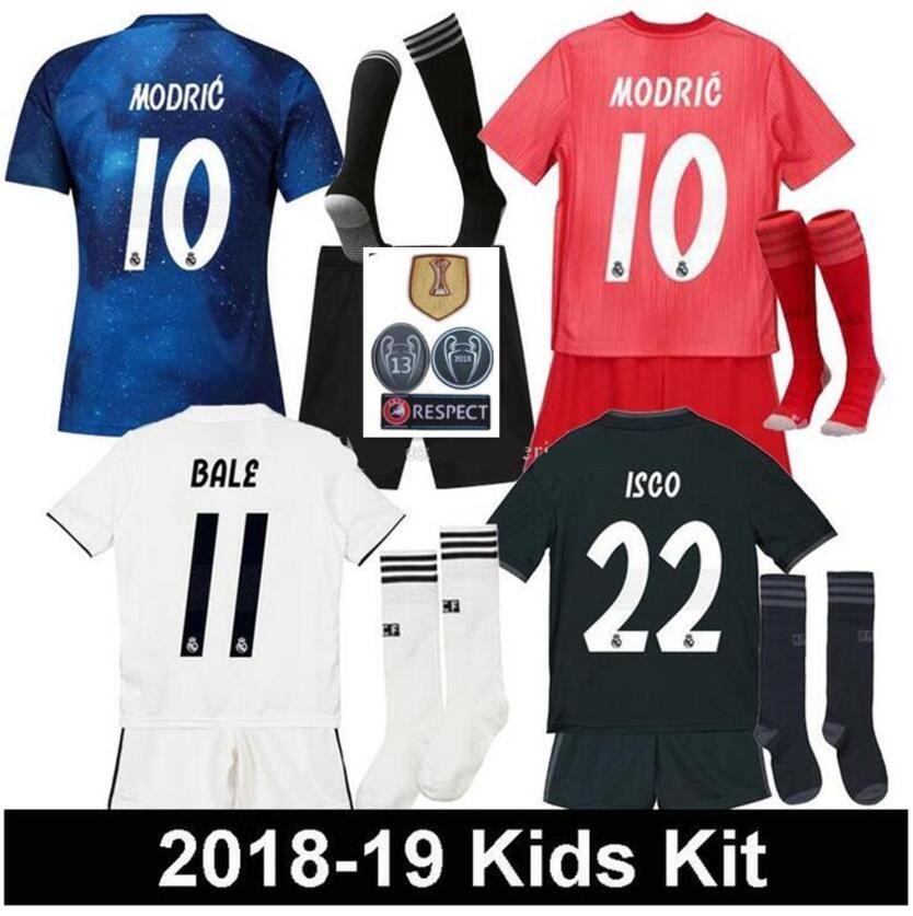2018 2019 Real Madrid Kids Soccer Jersey 18 19 Real Madrid Set RONALDO  BENZEMA ISCO BALE SERGIO RAMOS MORATA ASENSIO MODRIC Football Shirt UK 2019  From ... 90fb850fe