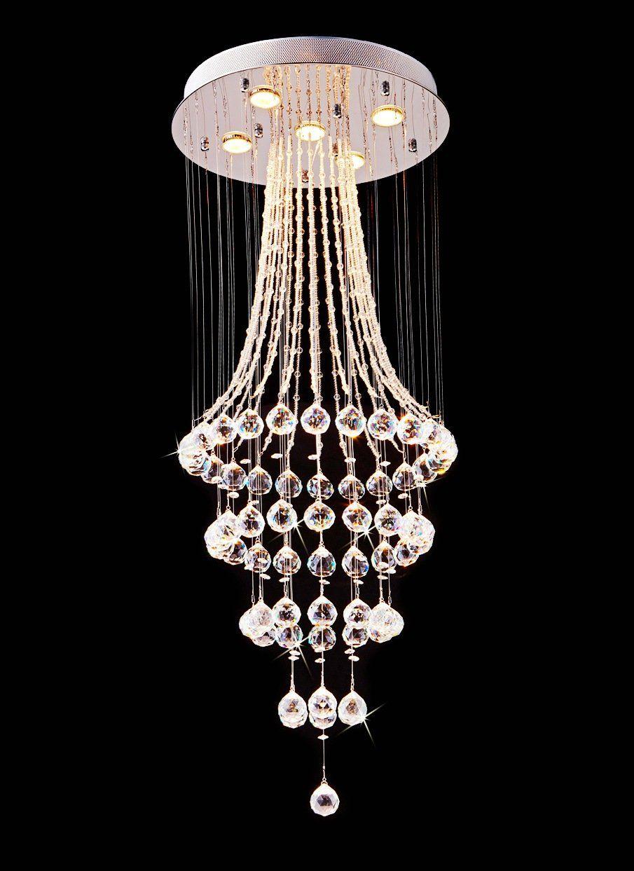 Modern k9 crystal raindrop chandelier lighting flush mount led ceiling light fixture for dining room bathroom bedroom livingroom