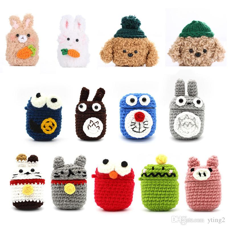 Protective cover Applicable airpods 2 protective sleeve wool hand-knitted Bluetooth cartoon plush earphone cover 40 styles dhl free