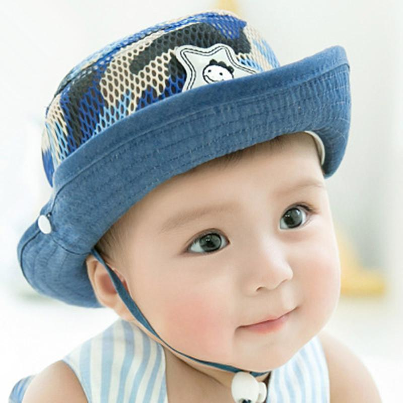f0b643cf058 2019 Summer Autumn Warm Soft Cotton Infant Baby Sun Hat Camouflage Cap  Toddler Boys Girls Bucket Hat Denim Cotton Kids Mesh Cap From Curd