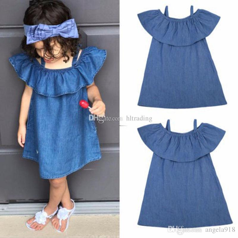 62e67e7a4199 2019 Baby Girls Off Shoulder Denim Dress Children Ruffle Princess ...