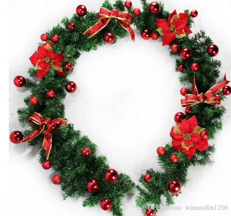 2 7m 9ft Artificial Green Wreaths Christmas Garland Fireplace Wreath For Xmas New Year Tree Home Party Decoration
