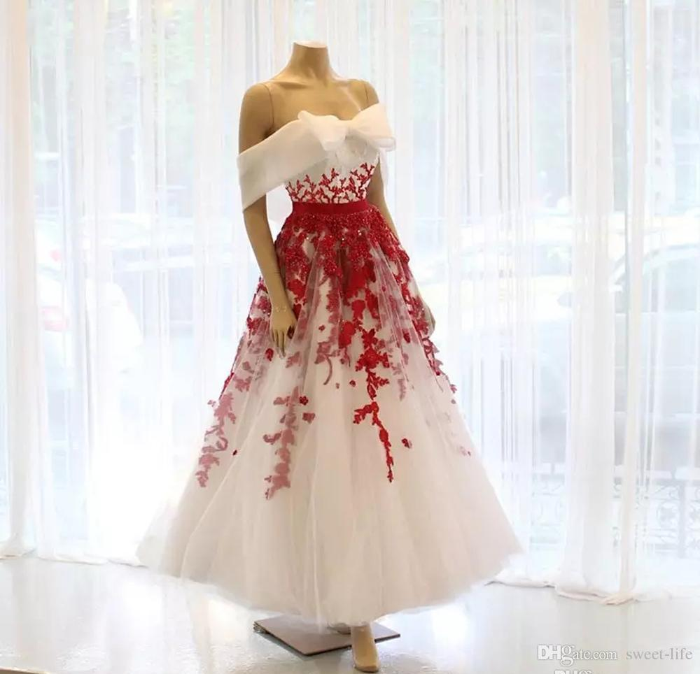 83bd0a41232 White And Red A Line Tea Length Prom Dresses Off Shoulder Lace Appliques  Short Party Evening Gown Sequin Girls Special Occasion Dress Black And White  Prom ...