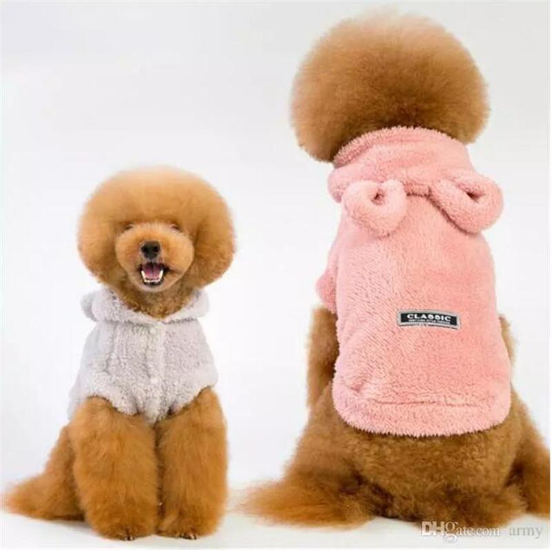 Cute Pet Dog Two-Face Plush Coat Clothes Winter Warm Defensive Cold Cotton  Puppy Cat Plushed Pet Overalls For Dogs Costume Coat Jackets