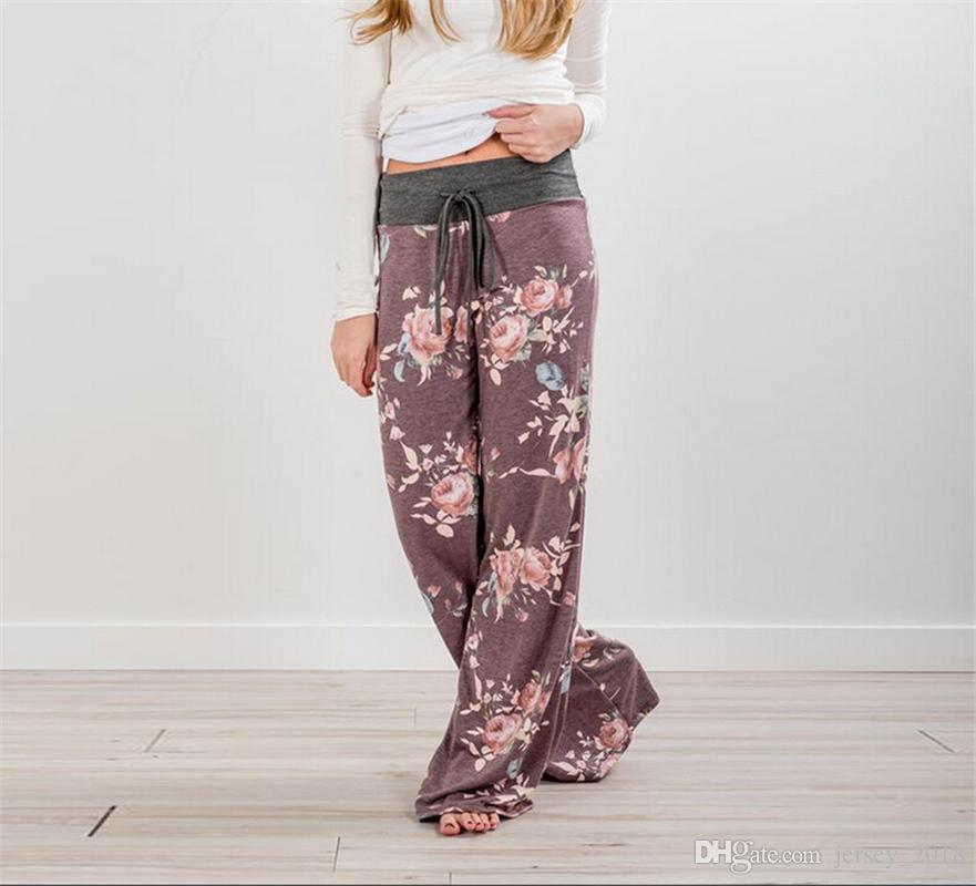 5ec9b16ca25 2019 Women Yoga Pants Long High Waist Floral Loose Beach Wide Leg Palazzo Loose  Trousers Panties Summer Gym Running Sportswear  242208 From Jersey 2018