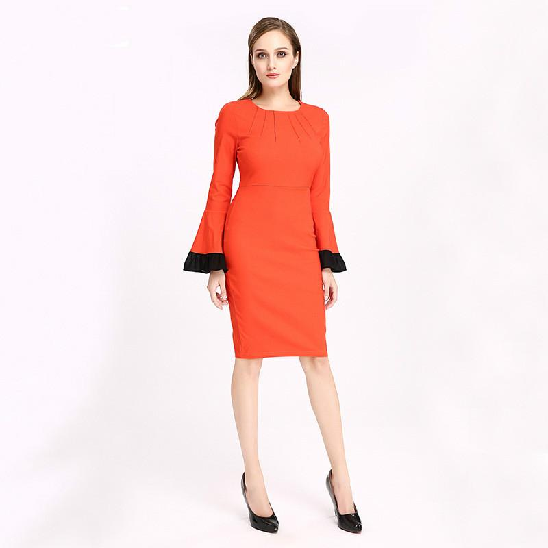 Office Career Dresses Lady Elegant Party Formal Gown High Waist Flare  Sleeve Pencil Dress Plus Size