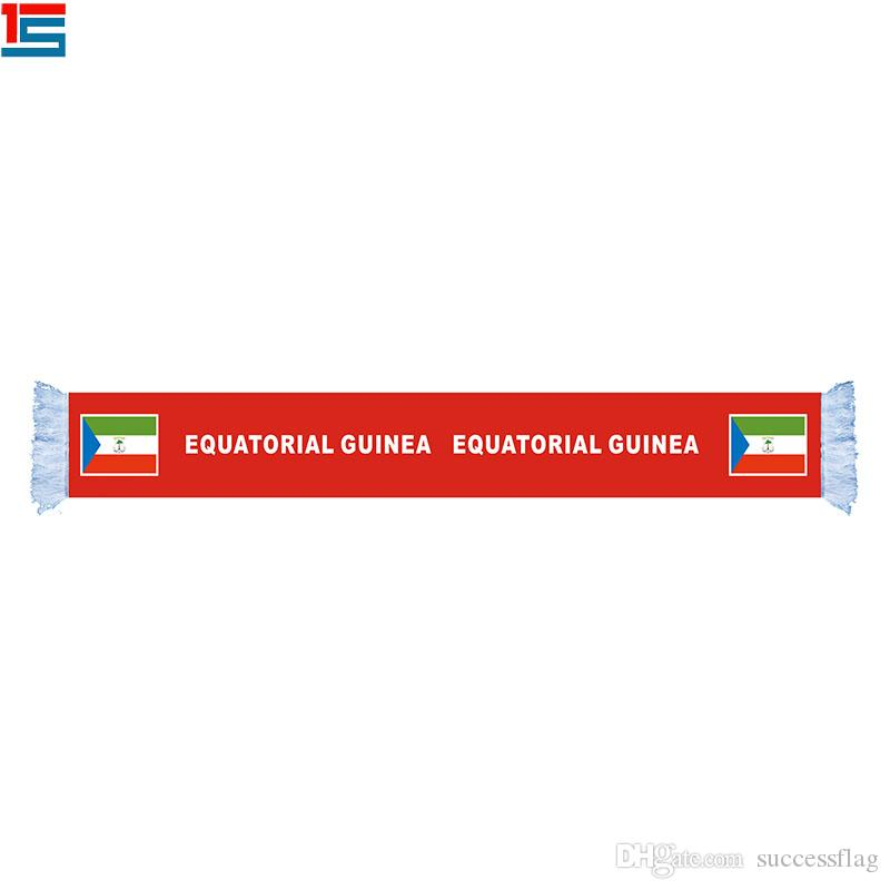 Cheap Polyester Equatorial Guinea National Flag Scarf For National Day Sports Team Football Fans Scarf With Fringes