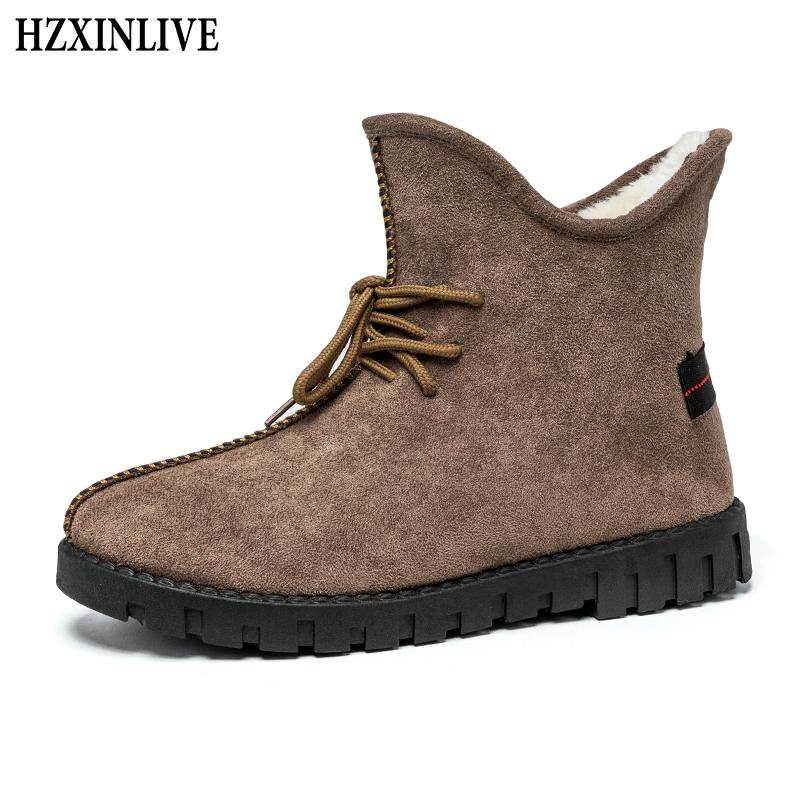Women's Boots Shoes Hzxinlive 2018 Winter New Design Women Ankle Boots Non-slip Warm Snow Boots Casual Fashion Lace-up Shoes Plush Booties Woman