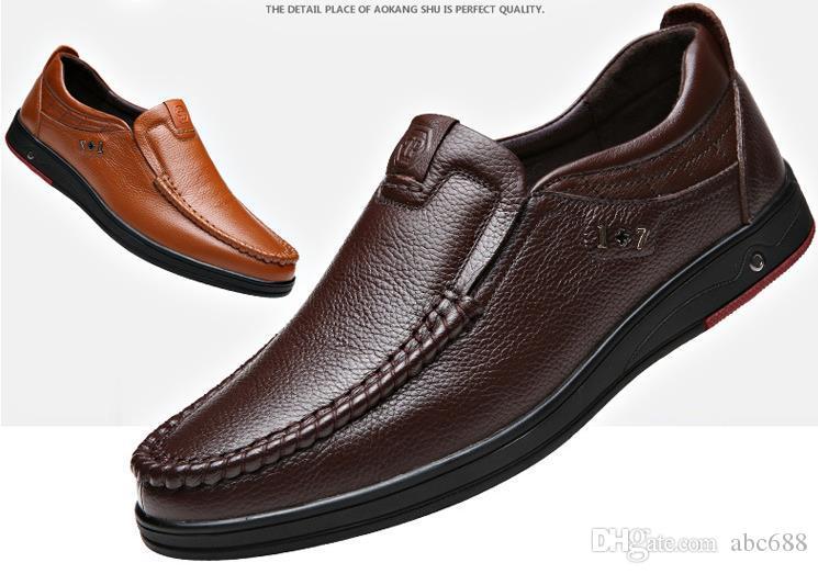 e01289b1e2d Compre Zapatos De Hombre Patios Grandes. Zapatos De Cuero Genuino Para  Hombres