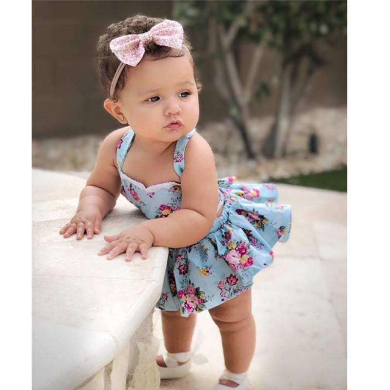Headband Jumpsuit Outfit Baby Girl Kids Clothes Summer Floral Romper Tutu Dress