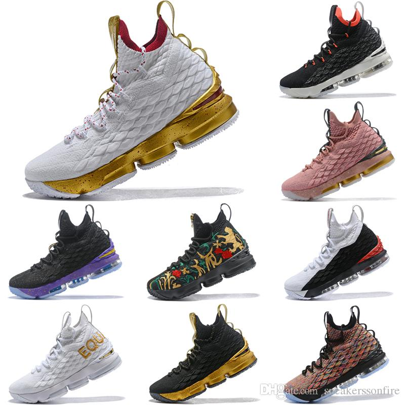 separation shoes 2b6af 72830 New 2019 Lebron 15 White Gold Mens Basketball Shoes James 15 Sneakers XV  Sports Shoes Size 40-46