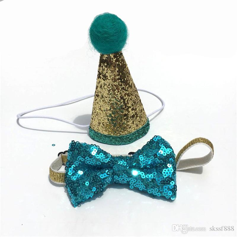 New Style Dog Party Hat Sequins Bow Christmas Decorations Cat Adjustable Belt Golden Red for Party