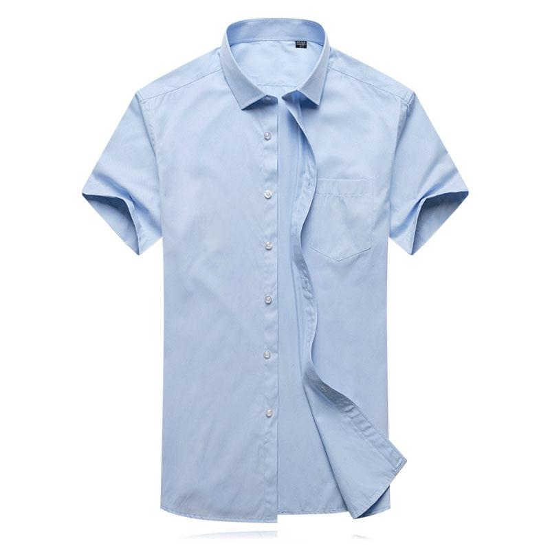 Plus Size Design Work Formal Men Shirt Short Sleeve Twill Solid Formal Business Shirt Brand Man Dress Shirts Clothes