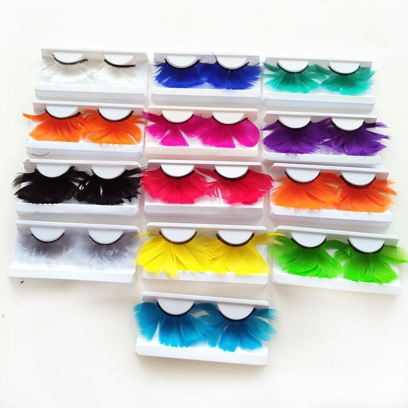 f7f444b54f6 Multi Colored False Eyelashes Color Feather False Lashes ...
