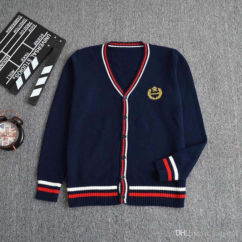 2019 Japanese School Uniforms Sailor Knitting Sweater Girls Student British  Crown Embroidery V Neck Long Sleeve Cardigan Tops Boys From Tangonel 852369b2b
