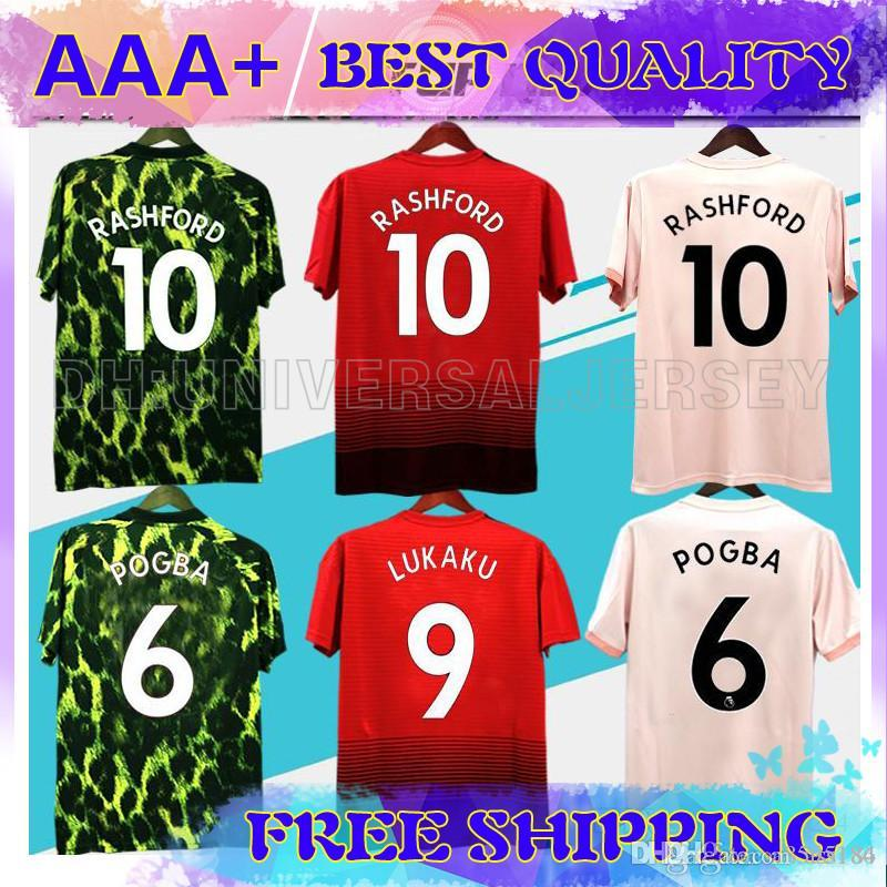 newest c18d4 88161 18 19 FC United Soccer Jersey 2018 2019 Jerseys UTD POGBA LUKAKU RASHFORD  ALEXIS MAN MATA football shirt KIDS Kit boys uniforms