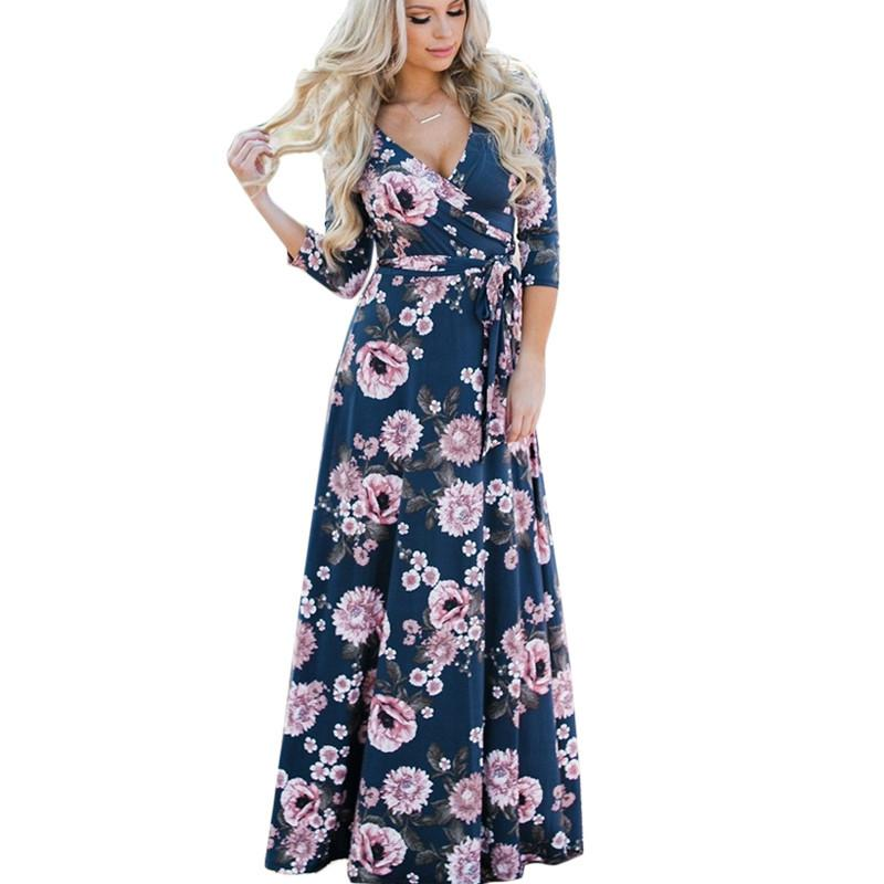 3e92f9ce9dd06 2019 Sexy New Women Summer Floral Print Maxi Dress Boho Style Long Beach  Dress Evening Party Long Bandage Bodycon Dress Plus Size Vestidos