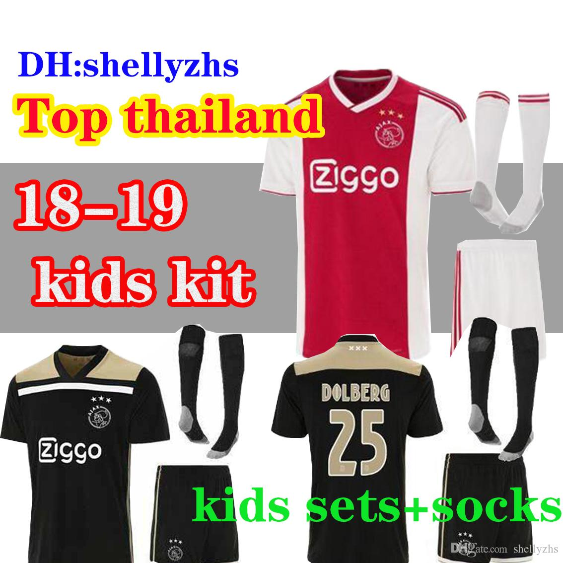 cd9ee694b13 2018 2019 Ajax FC Home away Soccer Jerseys kids kits + socks 18 19 Camisa  ZIYECH KLUIVERT NOURI DOLBERG YOUNES Jerseys Football Shirts sets