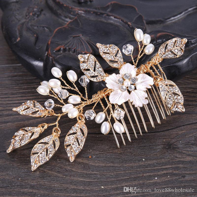 Vintage White Enamel Flower Gold Hollow Leaves Hair Comb Hairpin Clip Wedding Bridal Jewelry Head Band Jewelry