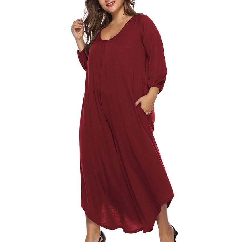 Plus Size Dress for Women XL,5XL Solid Long Sleeve Side Pocket Long Dresses  Elegant Office Slim Backless Sexy Dress Ladies Cloth