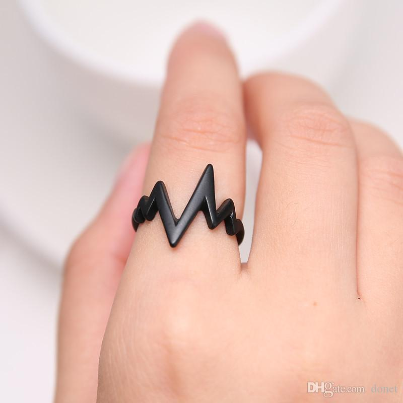 Girls Fashion Chic Lightning Design Wave Rock Style Finger Rings For Women Jewelry Accessories