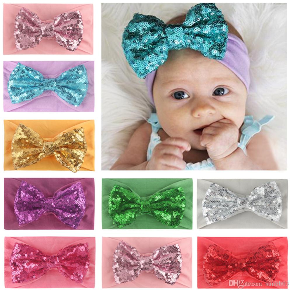 New Europe Baby Girls Big Bow Headband Kids Nylon Elastic Sequins Bowknot Hairband Children Bandanas Head Band Hair Accessory 8 Colors 14978